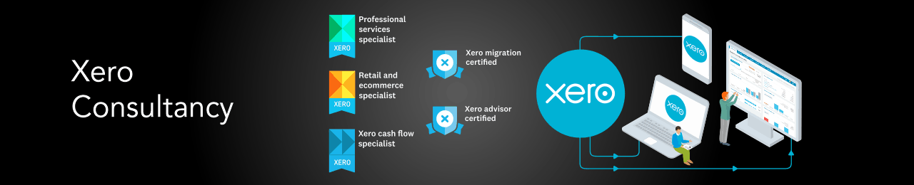 Infographic showing the Xero accounting software logo connected to a laptop, mobile phone and desktop monitor using blue arrows to represent data passing automatically via the cloud.  Two users are analysing the data and there are logos for various accreditations including Xero advisor certified, Xero cash flow specialist, Professional services specialist and Xero migration certified.