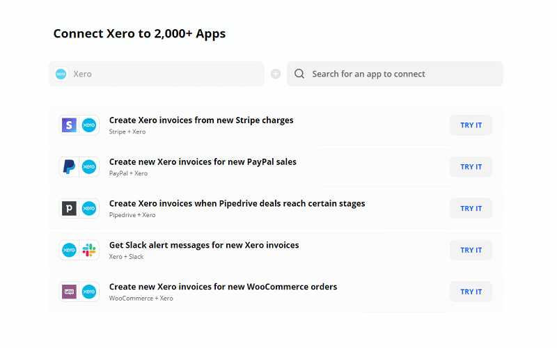 Screen print from Zapier of a list of popular Xero automations including Create Xero Invoices from New Stripe Charges, Create Xero Invoices when Pipedrive Deals Reach Certain Stages and Get Slack Alert Messages For New Invoices.
