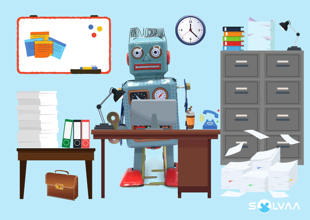 Illustration of a messy office with stacks of paperwork on the floor and a vintage robot working behind the desk