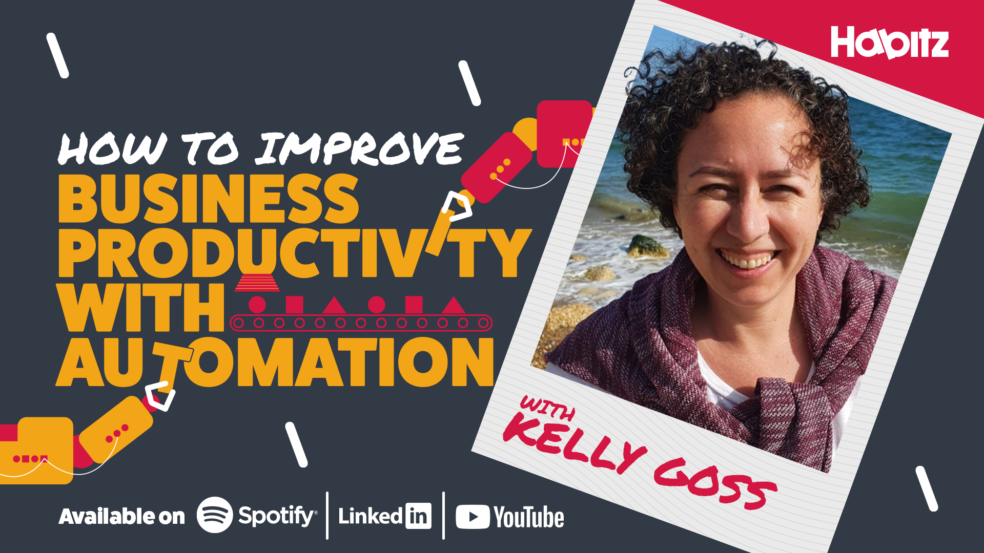 Grey background with overlaid text which says 'How to improve business productivity with automation' with a polaroid-style photo of Kelly Goss and icons below for Spotify, LinkedIn and YouTube.