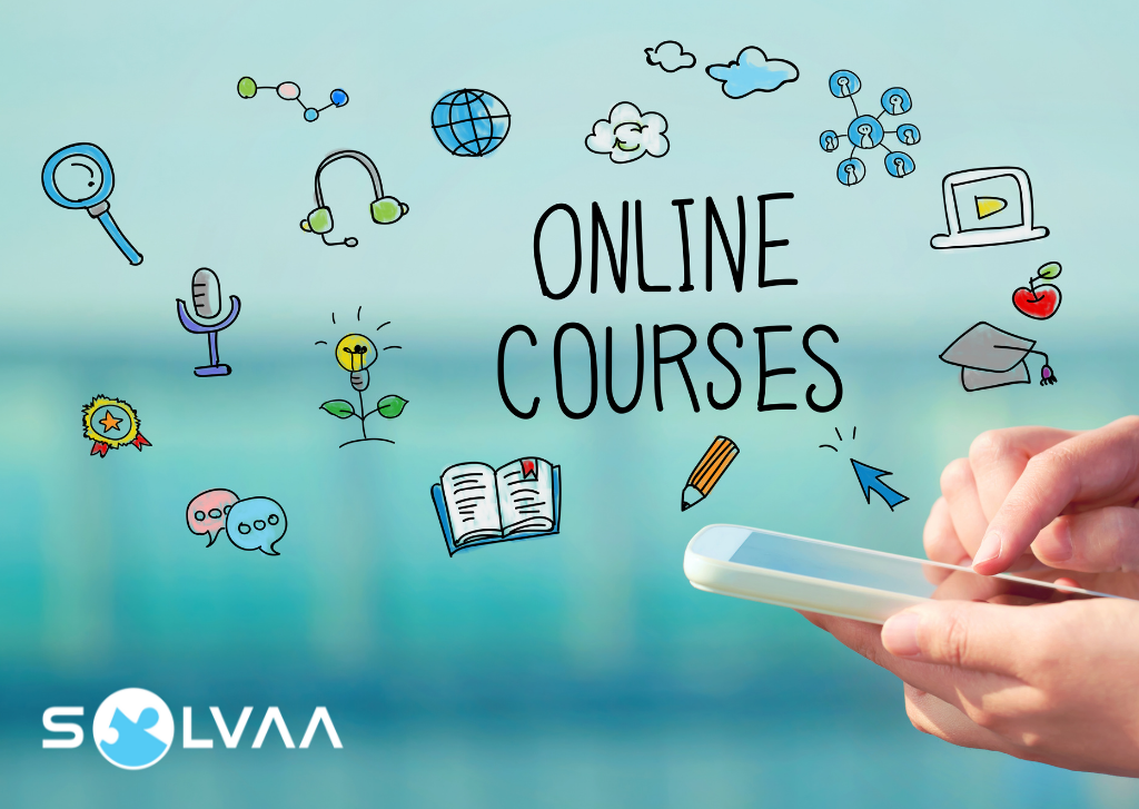 Illustration of online course concepts including book, pencil, cloud and microphone, with photo of hands holding a smart phone with finger poised on the screen. Light blue background with Solvaa logo in bottom corner.